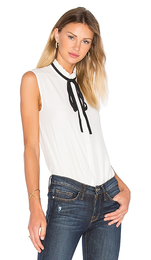 FRAME Denim Le Ruffle Neck Blouse in White