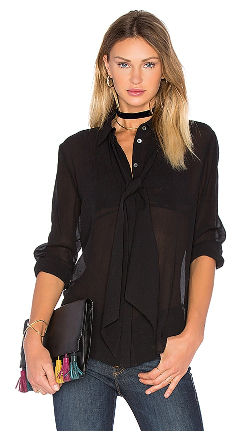 FRAME Denim Le Chiffon Tie Blouse in Black