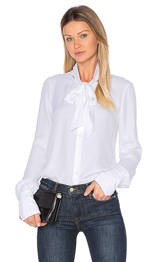 FRAME Denim Tie Neck Blouse in White