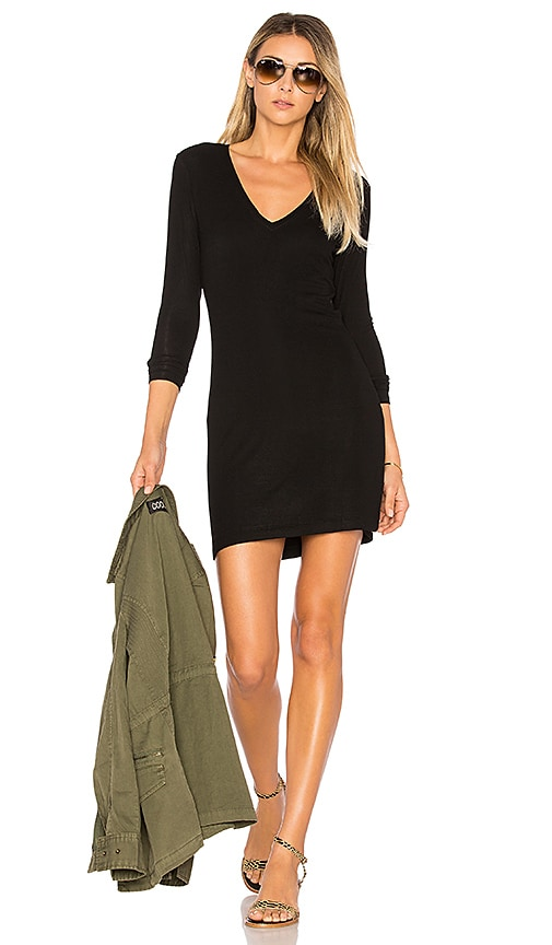 Feel the Piece Laurel V Neck Dress in Black