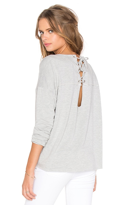 Feel the Piece Flight Lace Up Back Sweater in Gray