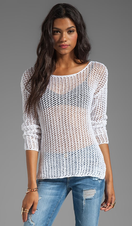 Open Knit Boat Neck Sweater