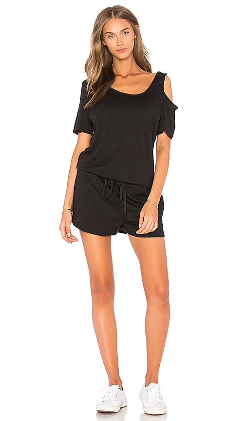 Feel the Piece Ashford Cold Shoulder Romper in Black