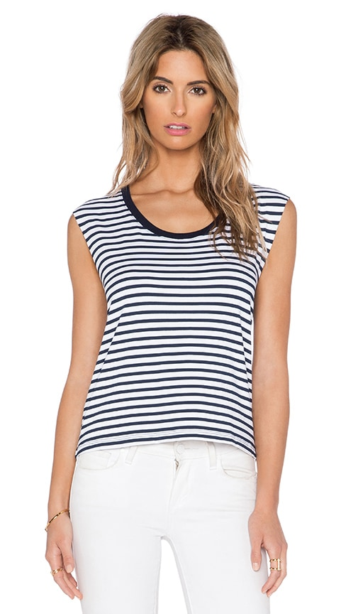 Feel the Piece Honour Stripe Tank in Navy & White