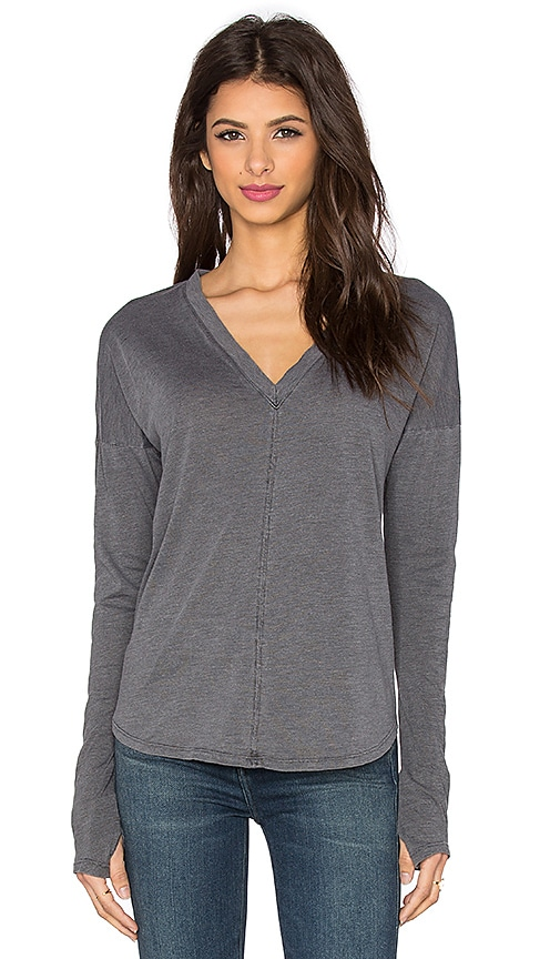 Feel the Piece Cameron V Long Sleeve Top in Off Black
