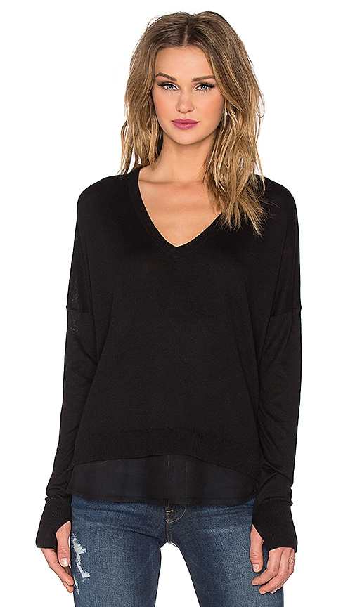 Feel the Piece Cypress Top in Black & Black Woven