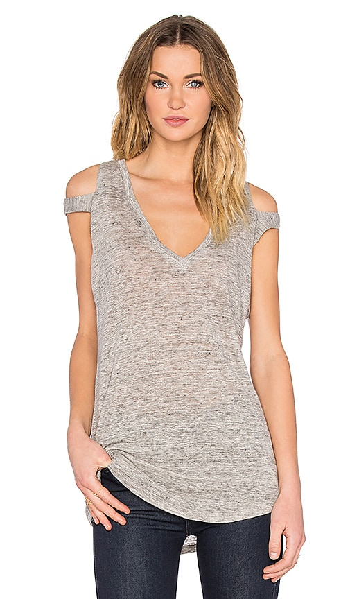 Feel the Piece Stone Slit Shoulder Tank in Gray