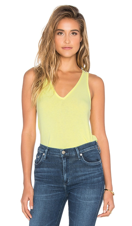 Feel the Piece Lilith V Neck Racer Back Tank in Yellow