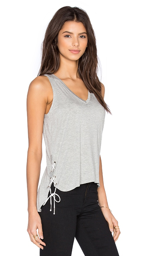 Feel the Piece Crosser V Neck Tank in Gray