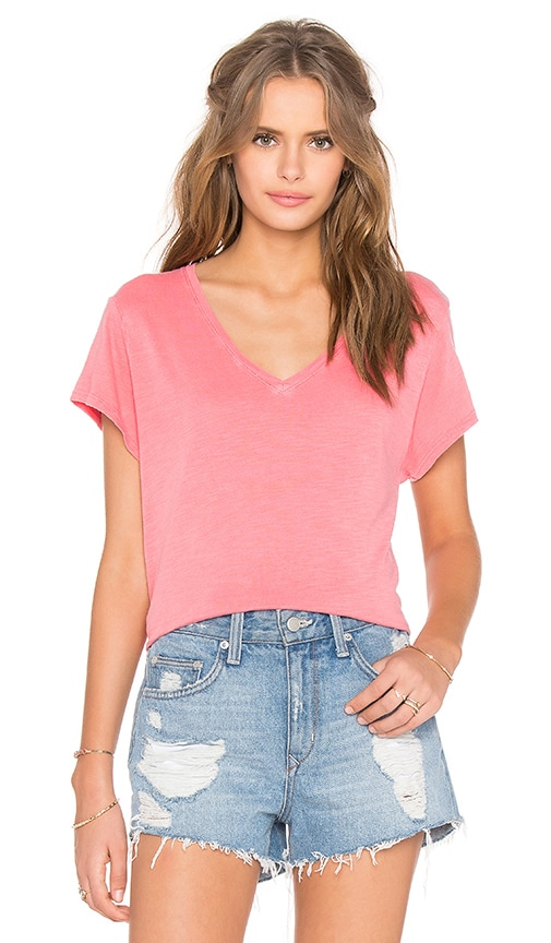 Feel the Piece Champion V-Neck Tee in Coral