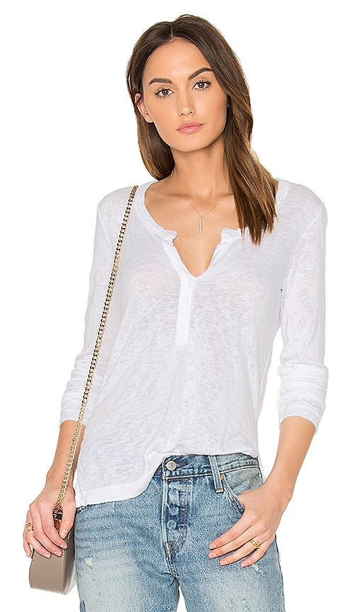 Feel the Piece Kimmi Henley Tee in White