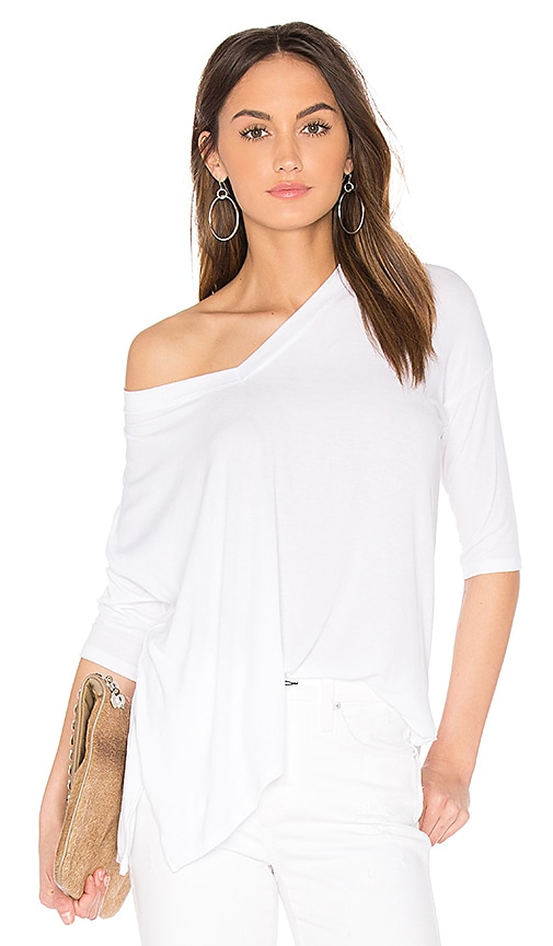 Feel the Piece Eydon 3/4 Sleeve V Neck Tee in White