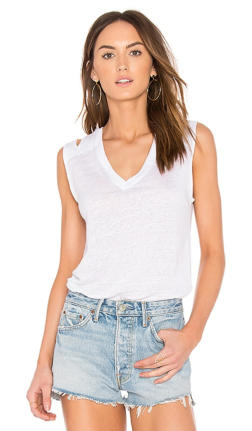 Feel the Piece Stone V Cut Tank in White
