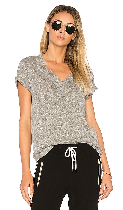 Feel the Piece Nicola V Neck Tee in Gray