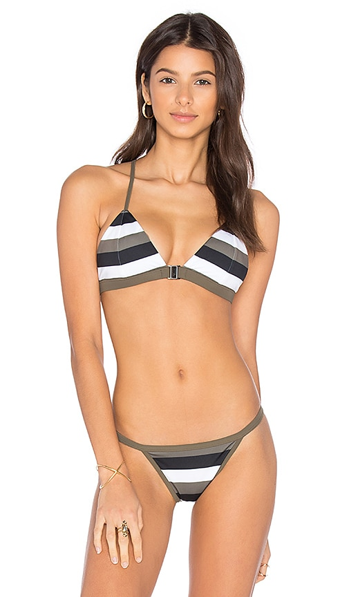 F E L L A Louis Triangle Bikini Top in Black & White