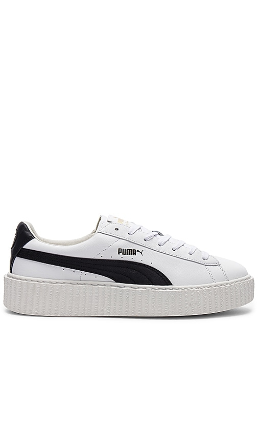 the latest ba28d 361d1 Fenty by Puma Cracked Leather Creeper in White & Black ...