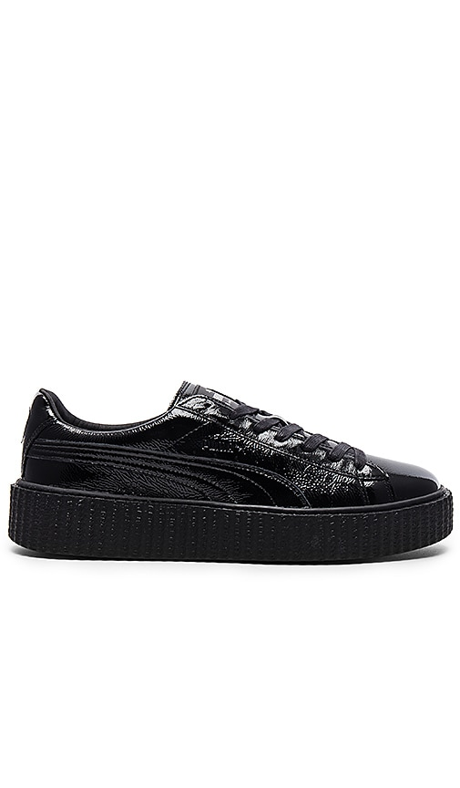 competitive price d57fe 3e063 Fenty by Puma Cracked Leather Creeper in Black & Black ...