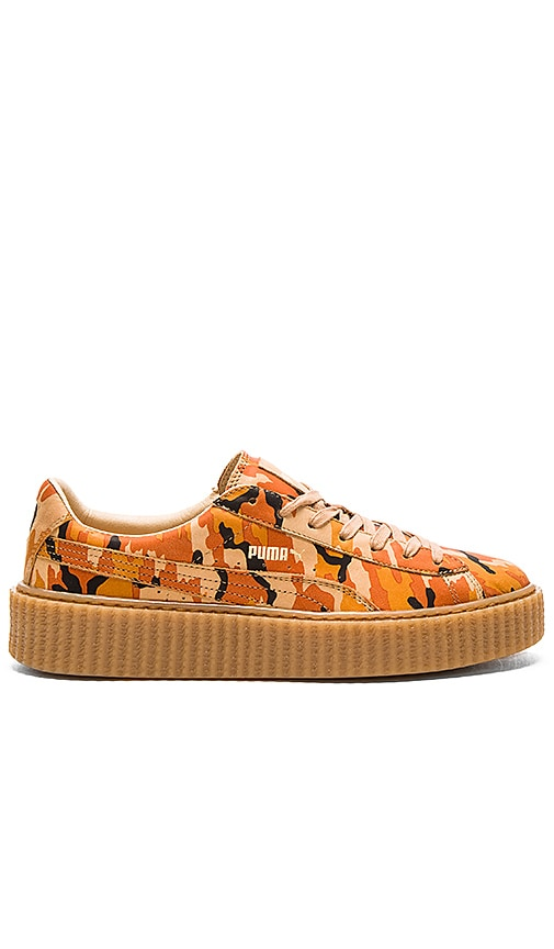 newest collection 33511 a23c1 Fenty by Puma x Rihanna Suede Camo Creepers in Orange ...
