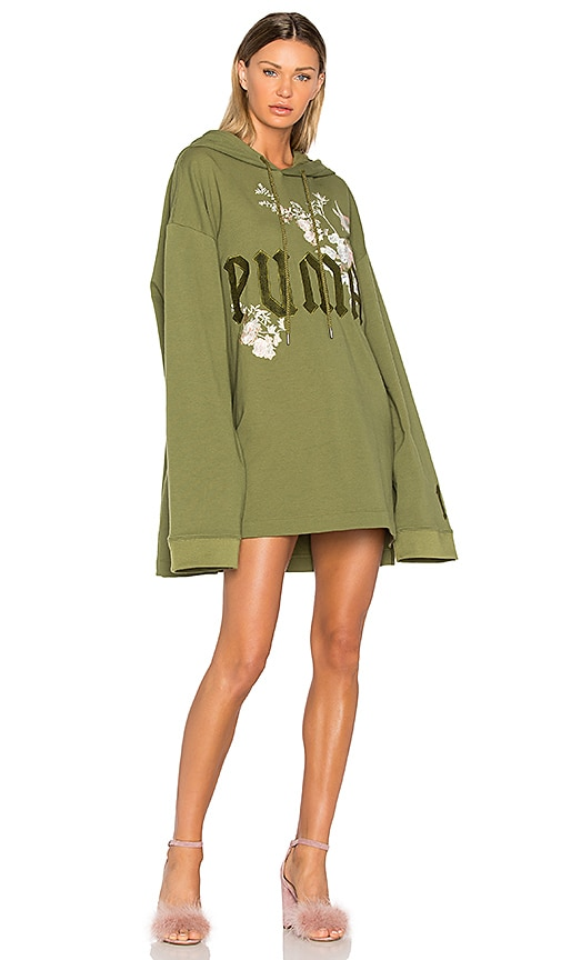 Fenty by Puma Graphic Embroidered Hoodie in Green