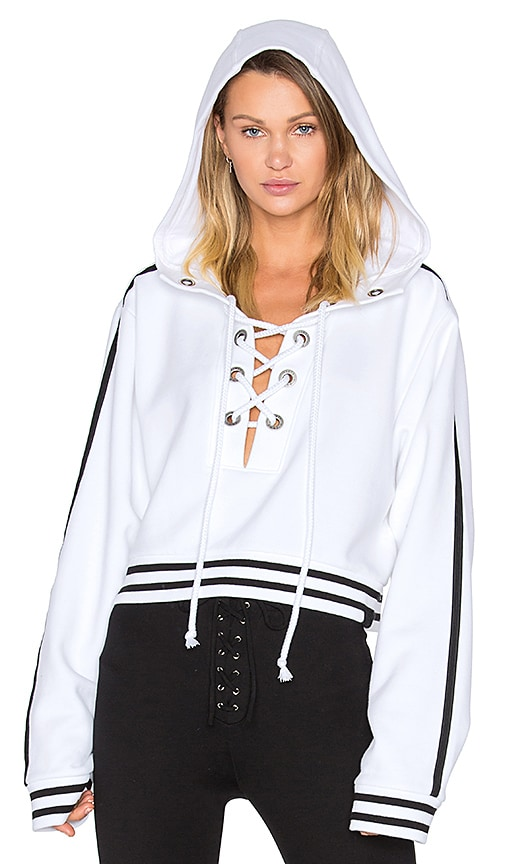 Fenty by Puma Rising Sun Lace Up Sweatshirt in in White