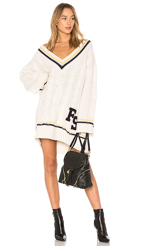 c4f59beb98a Fenty by Puma V Neck Cable Knit Sweater in Vanilla Ice