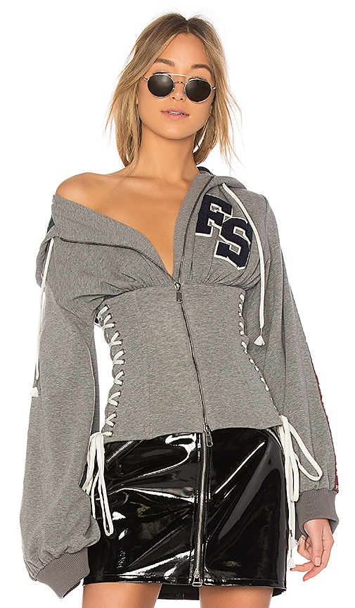 Fenty by Puma Side Lace Up Hoodie in Gray