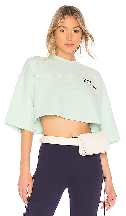 Fenty by Puma Cropped Crew Neck T Shirt in Mint