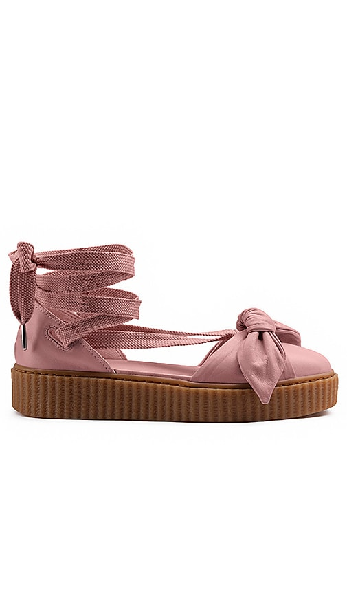 low priced c769d 2a836 Fenty by Puma Bow Creeper Sandal in Silver Pink & Silver ...
