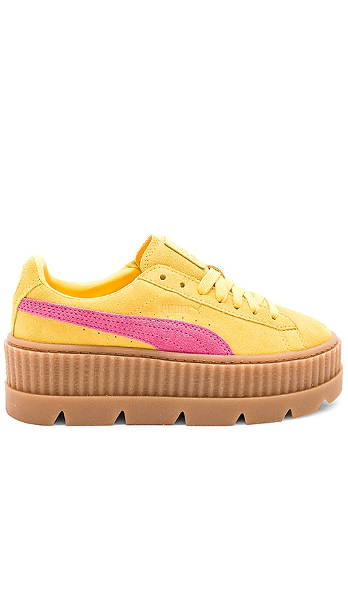 low priced 540cd 97ba4 Fenty by Puma Cleated Suede Creeper in Lemon, Carmine Rose ...