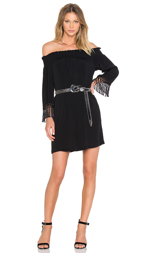 Fifteen Twenty Off The Shoulder Fringe Dress in Black