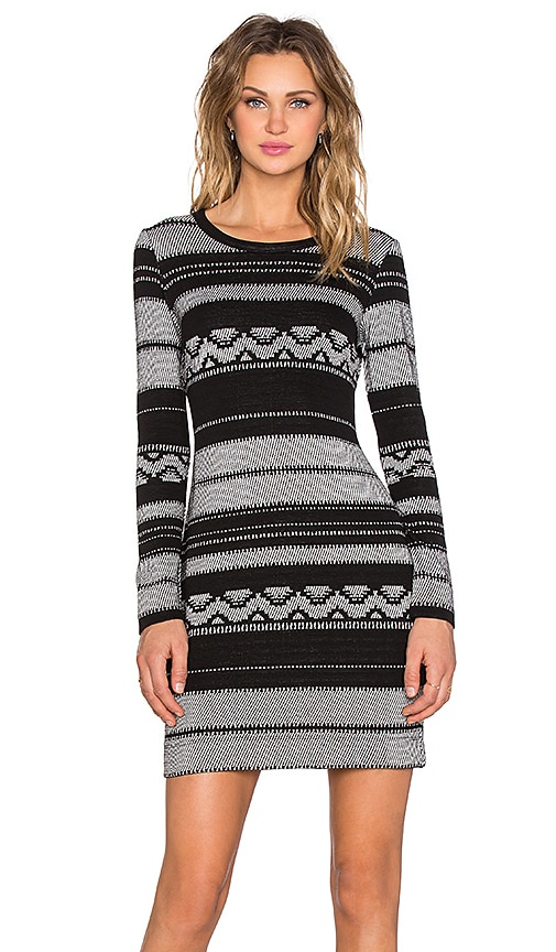 Fifteen Twenty Long Sleeve Knit Jacquard Dress in Black