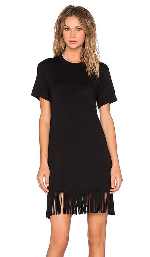 Fifteen Twenty Fringe T Shirt Dress in Black