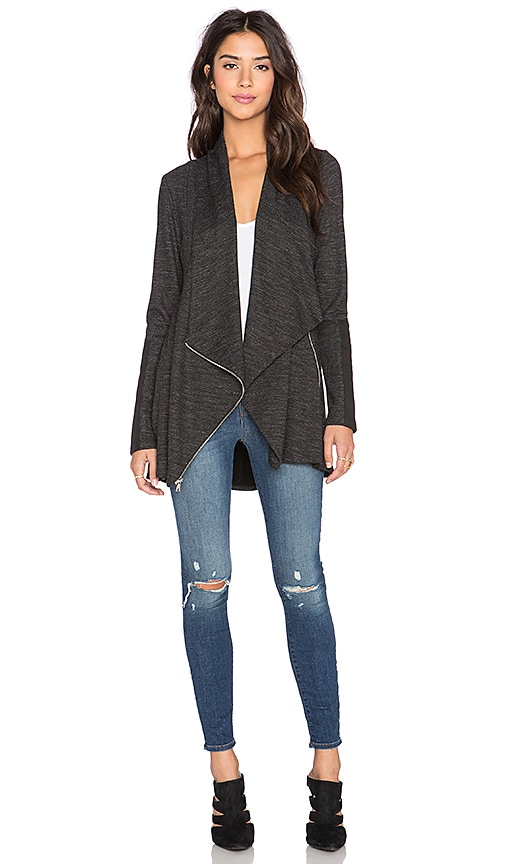 Fifteen Twenty Drape Leather Patch Jacket in Dark Heather Grey