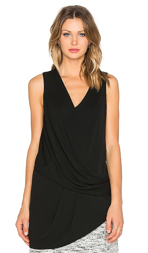 Fifteen Twenty Drape Side Angle Top in Black