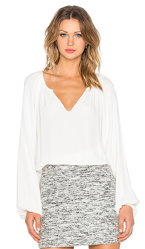 Fifteen Twenty Split Neck Peasant Top in Off White