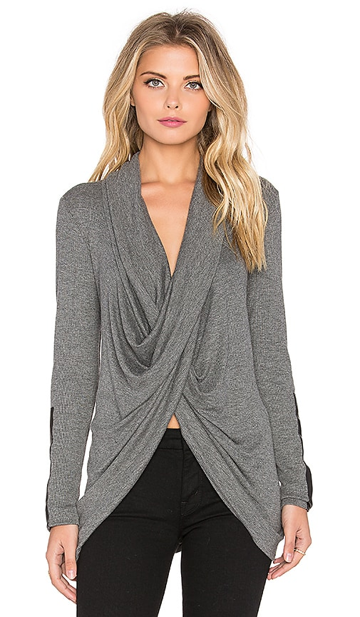 Fifteen Twenty Leather Patch Crossover Top in Charcoal