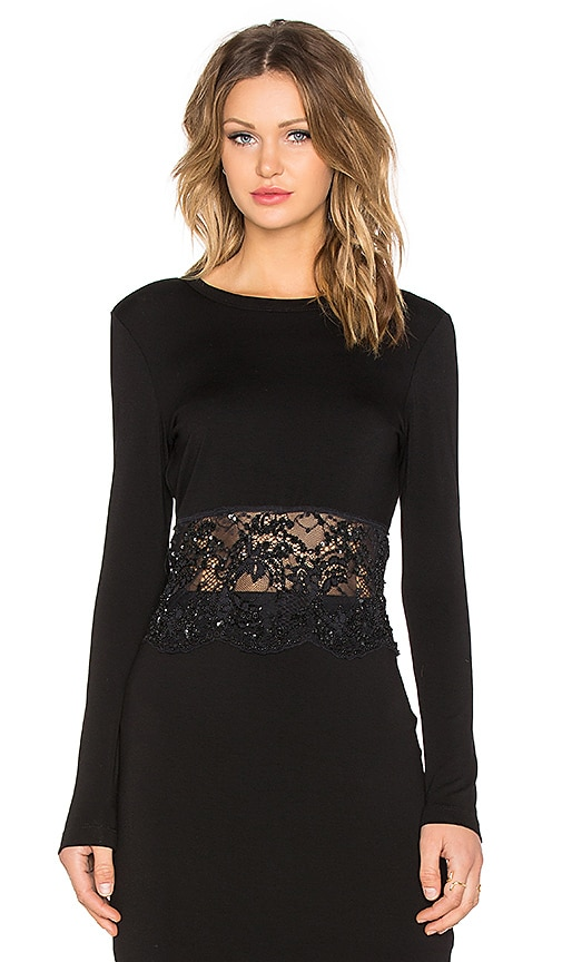 Fifteen Twenty Sequined Lace Crop Top in Black