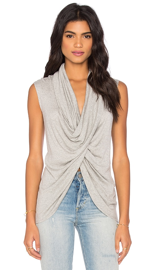 Fifteen Twenty Sleeveless Cross Over Top in Grey