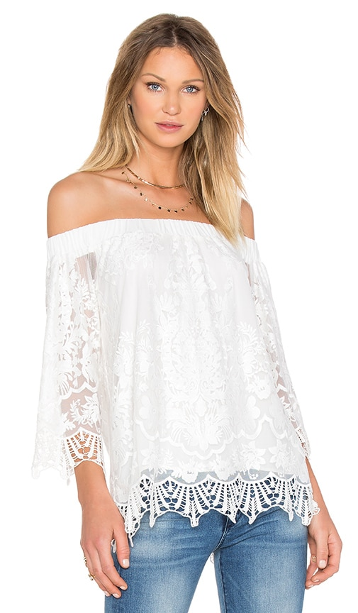 Fifteen Twenty Off The Shoulder Lace Top in White