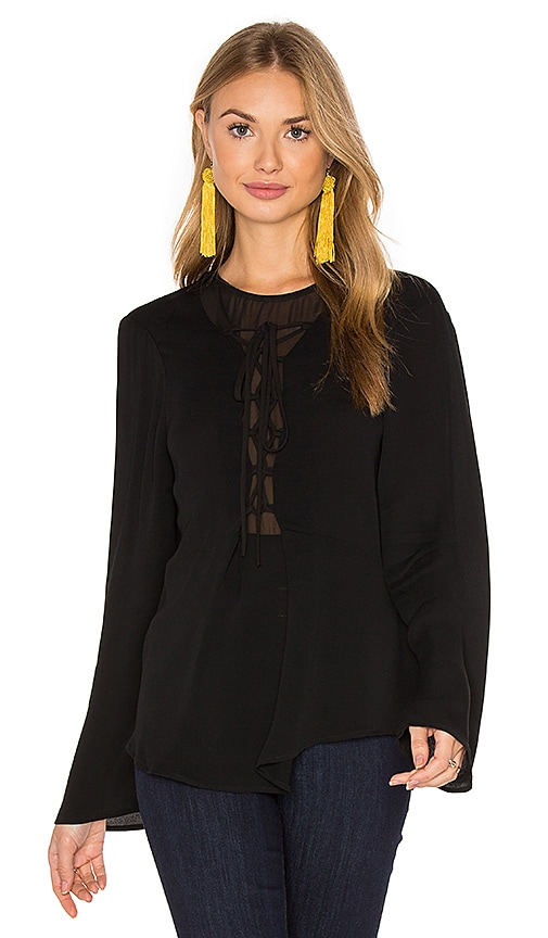 Fifteen Twenty Lace Up Blouse in Black