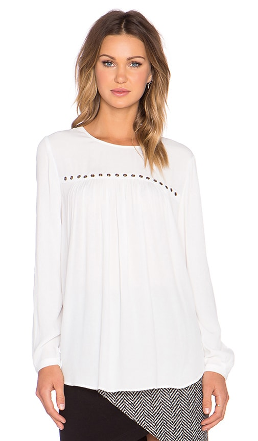Fifteen Twenty Crepe Eyelet Long Sleeve Top in Off White