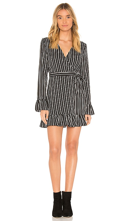 The Fifth Label Ophelia Stripe Wrap Mini Dress in Black