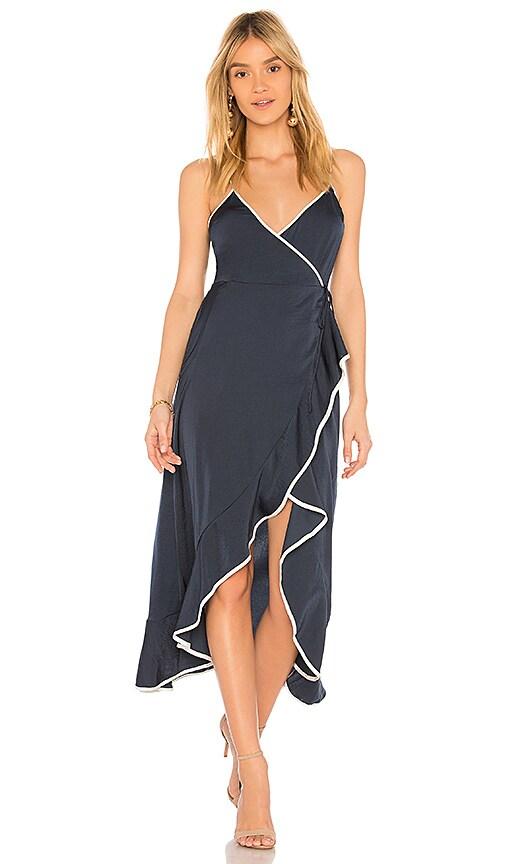 The Fifth Label Juliette Wrap Hi Low Dress in Navy