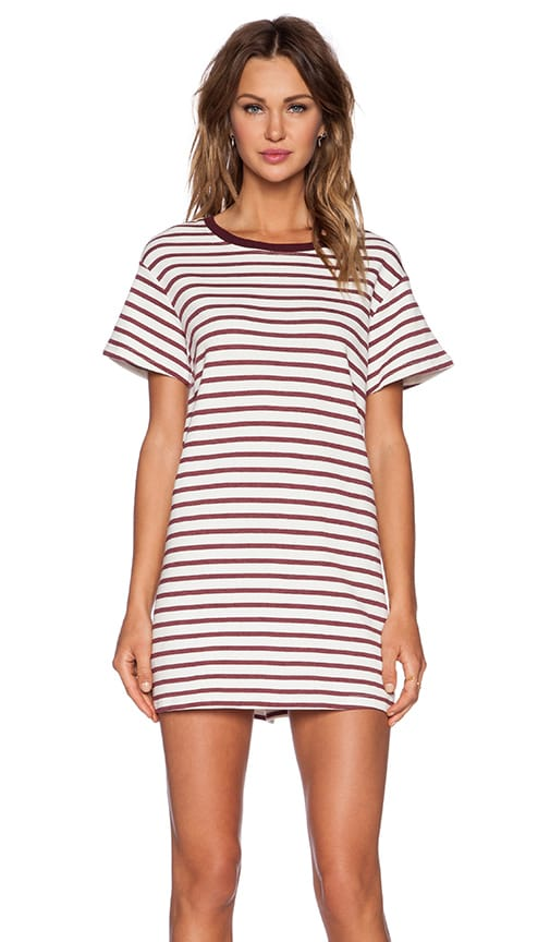 The Fifth Label Building Blocks T-Shirt Dress in White & Burgundy Stripe