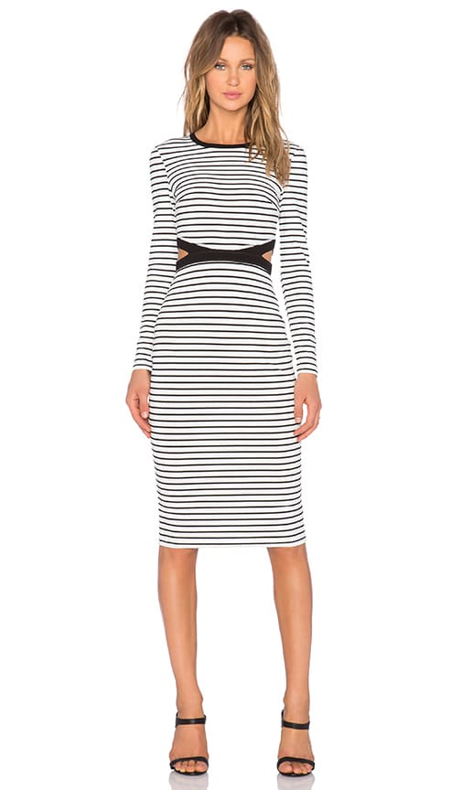 The Fifth Label Bitter Life Long Sleeve Dress in White & Black Stripe