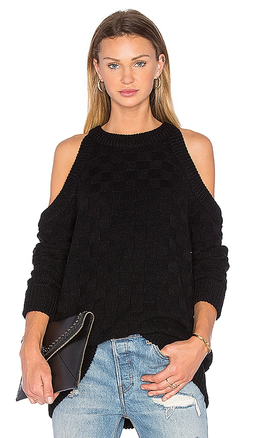 The Fifth Label Abstraction Cold Shoulder Sweater in Black