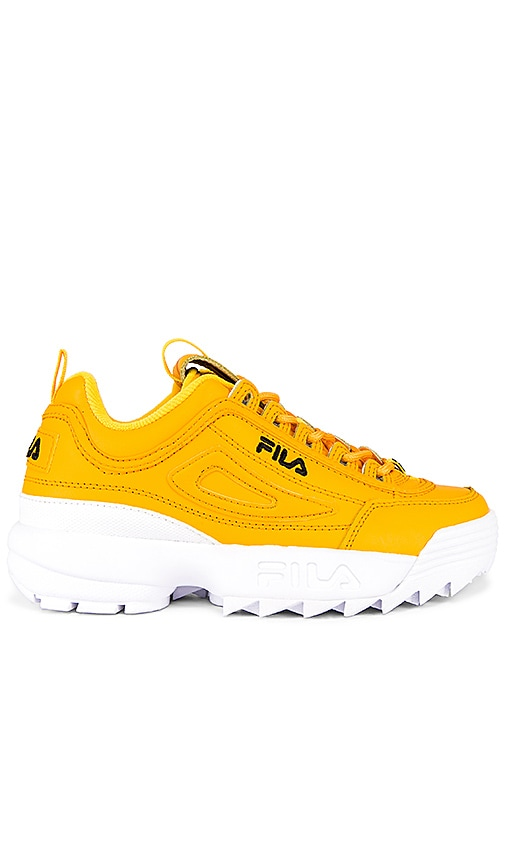 Fila Disruptor Ii Premium Sneaker In Gold  Black  U0026 White