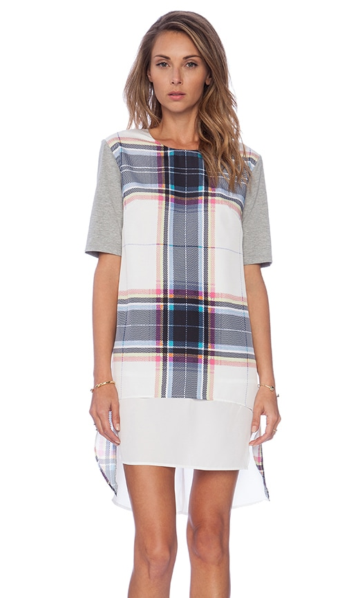 Finders Keepers Super Power Tshirt Plaid Dress in Tartan Print White