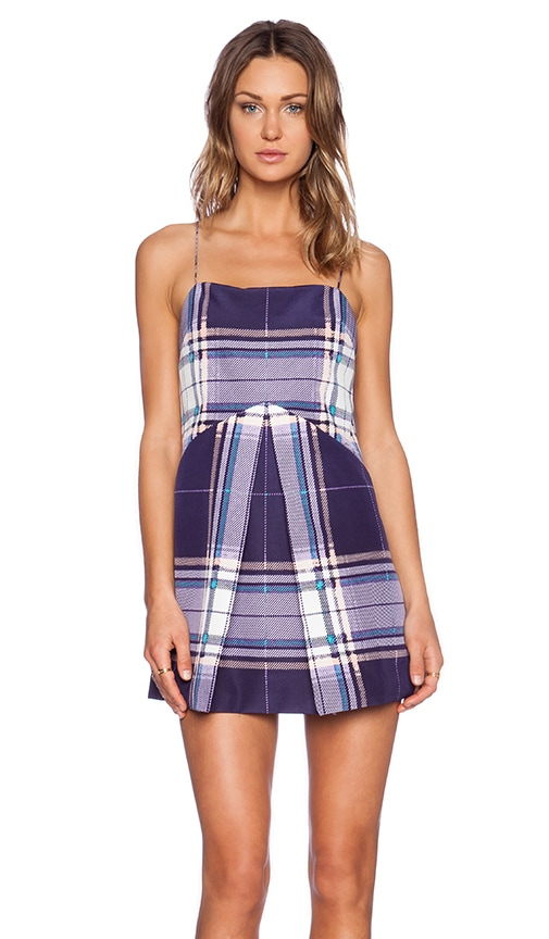 Finders Keepers All Time High Plaid Dress in Tartan Print Navy