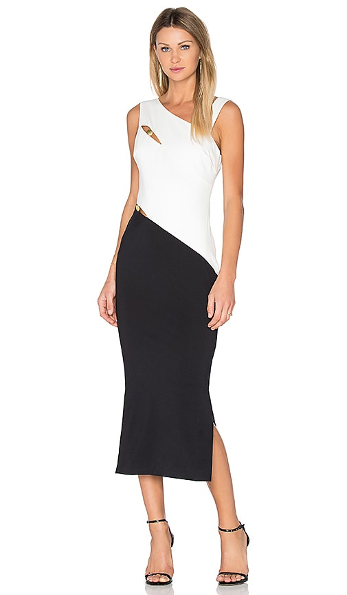 Finders Keepers Latrobe Midi Dress in Black & White